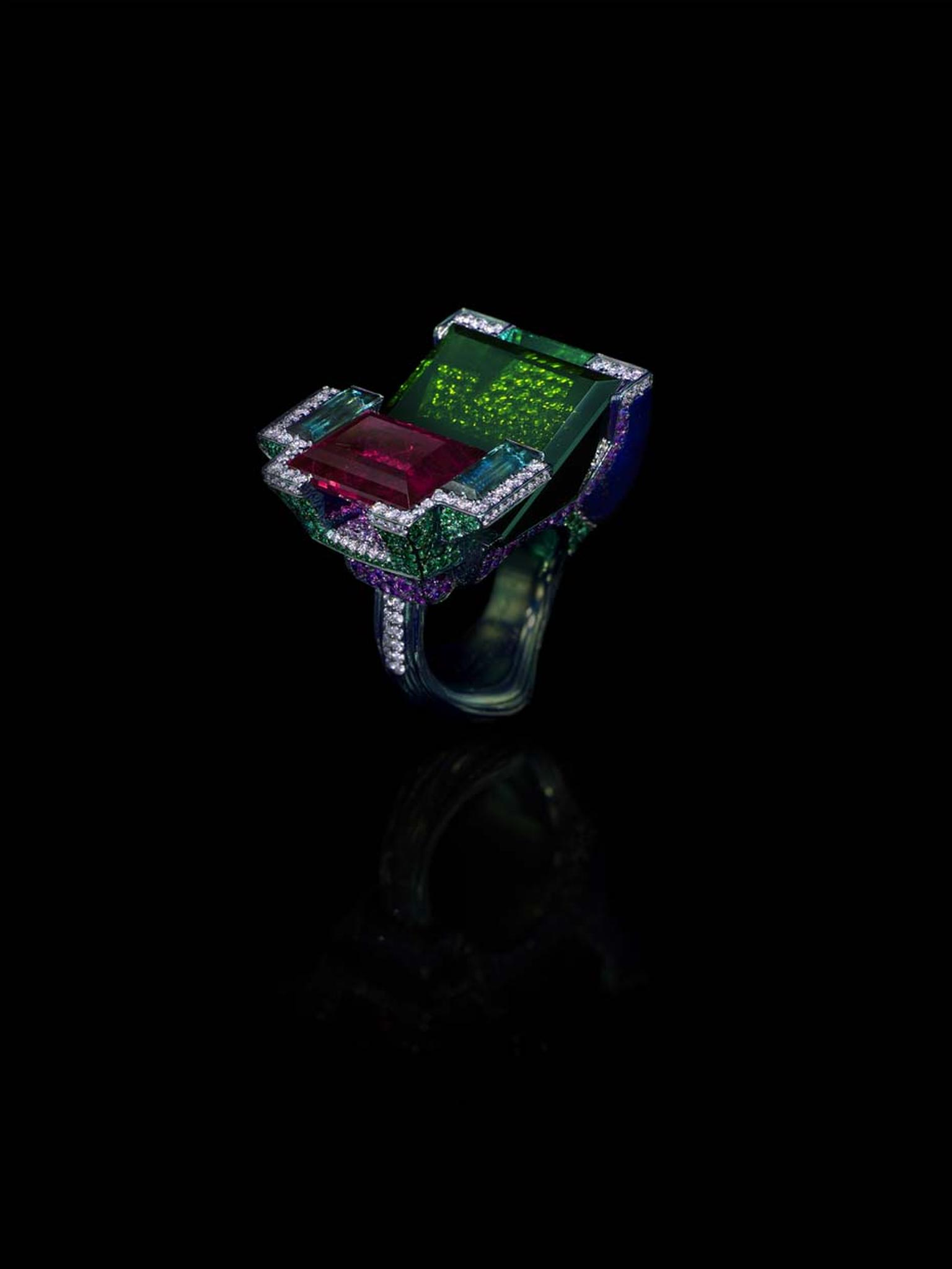 Wallace Chan Mon Rêve ring featuring a 29.22ct green tourmaline, 12.38ct rubellite, diamonds, tsavorites, garnets, pink sapphires and lapis lazuli.