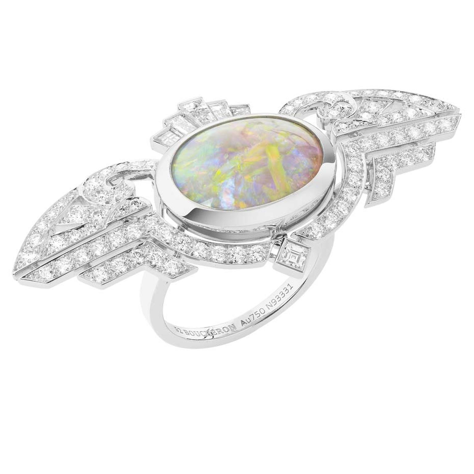 Boucheron Indian Palace opal and diamond ring, inspired by the coloured pools of water found within Indian Palaces.