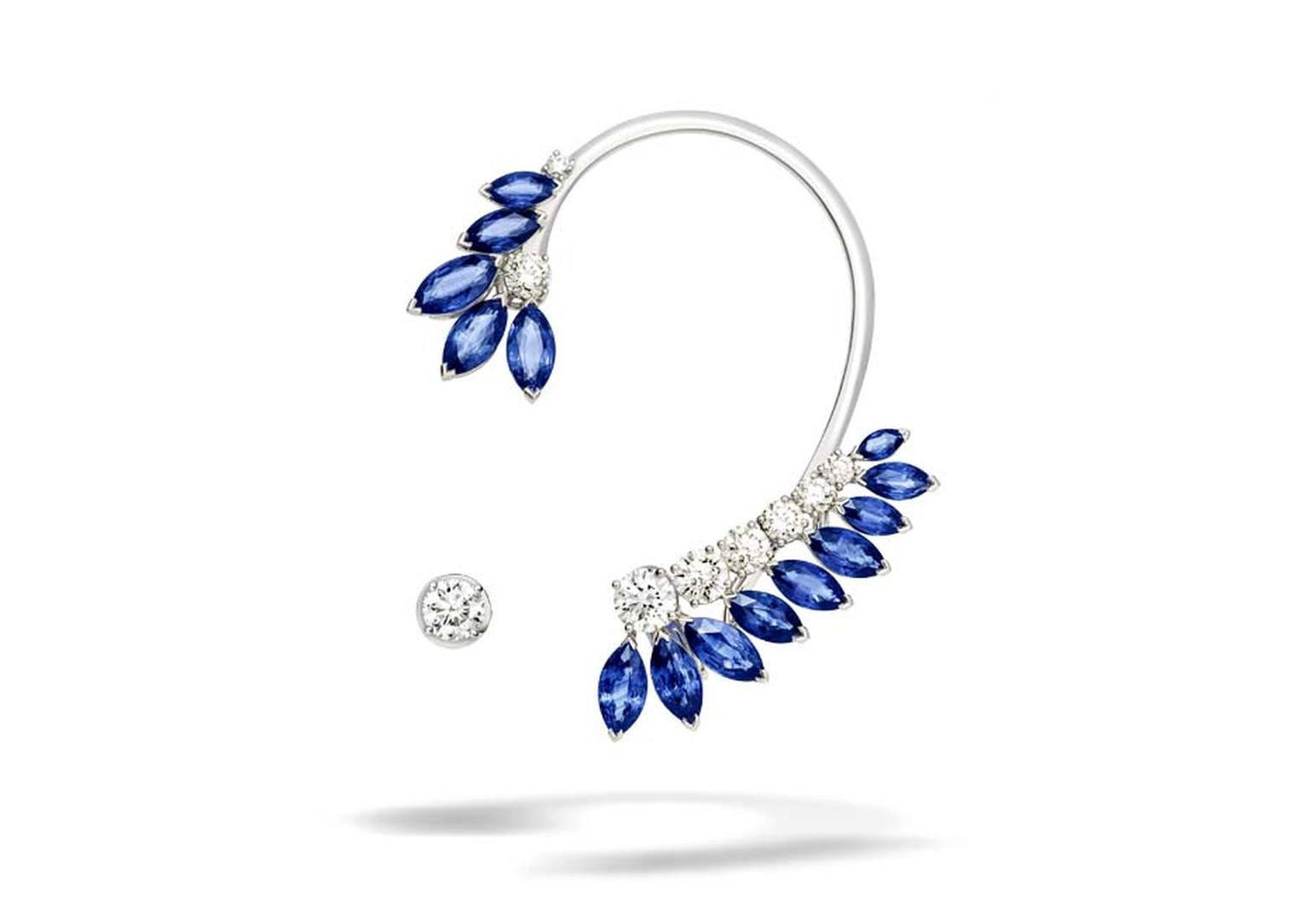 Piaget Extremely Piaget collection white gold earrings set with 12.29ct of marquise cut blue sapphires and various sizes of brilliant cut diamonds.