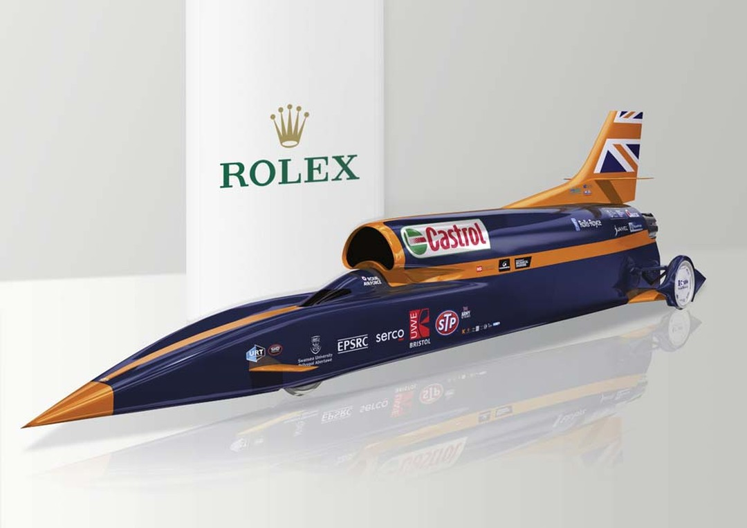 Ahead of a land speed record attempt planned for 2016, the Bloodhound SSC supersonic car travels at speeds of 130,000bhp generated by jet and rocket engines.