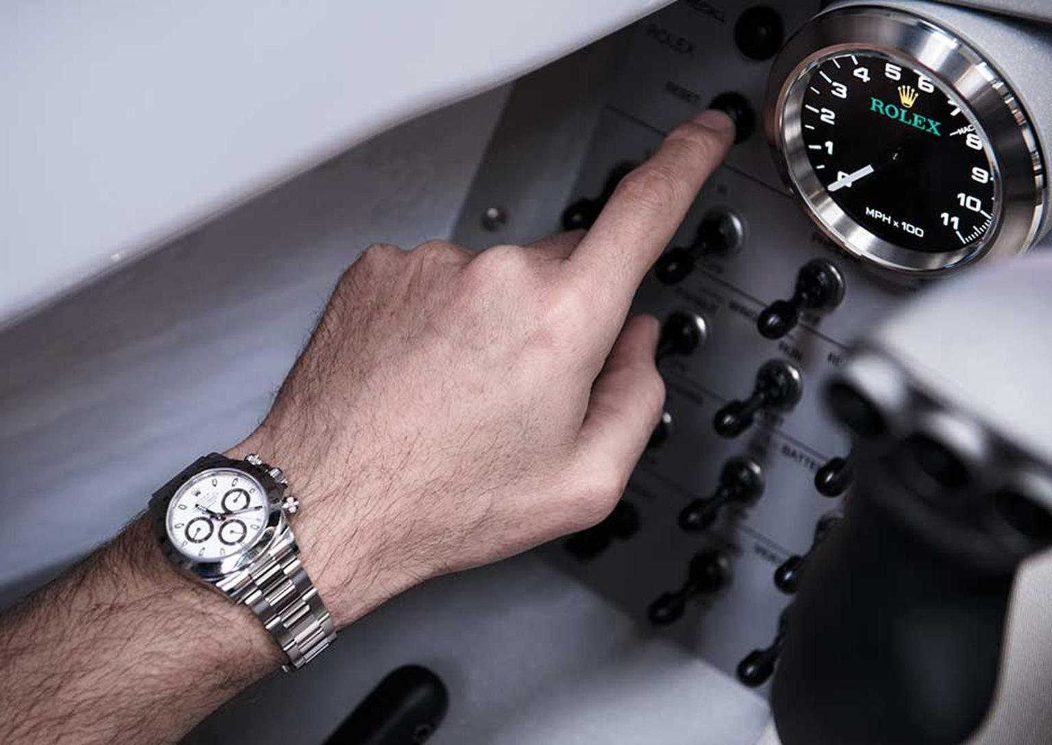 Wing Commander Andy Green OBE will use these Rolex analogue dials to time the braking sequences as he races across the Hakskeen Pan desert in the north-west corner of South Africa, and the critical one-hour turnaround time between the two runs that have t