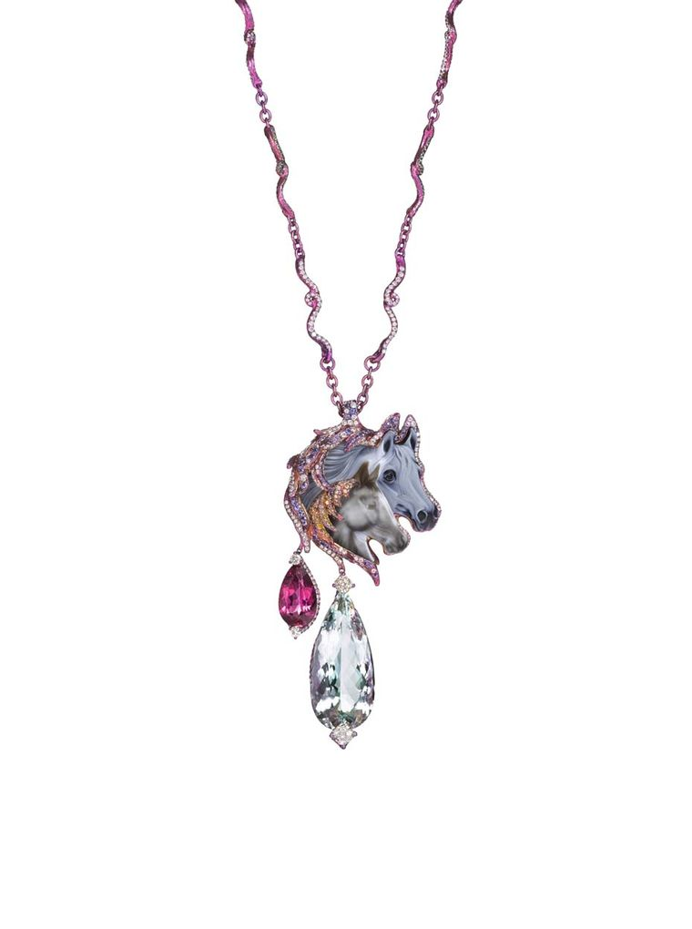 Wallace Chan Hushaby necklace featuring a 5.15ct agate, a 32.95ct aquamarine, pink tourmalines, yellow and white diamonds, sapphires, tsavorites and garnets.