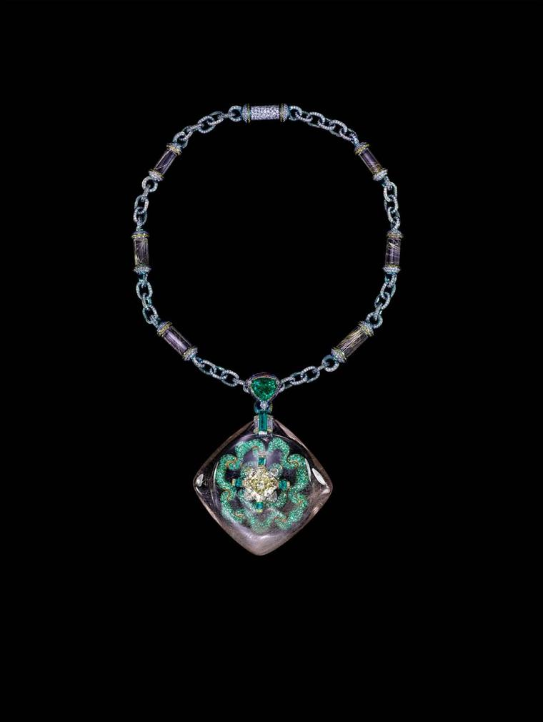 Wallace Chan Secret Abyss necklace featuring a 10.05ct yellow diamond, a 211.74ct rutilated quartz, emeralds, fancy coloured diamonds, amethysts and rutilated quartz.