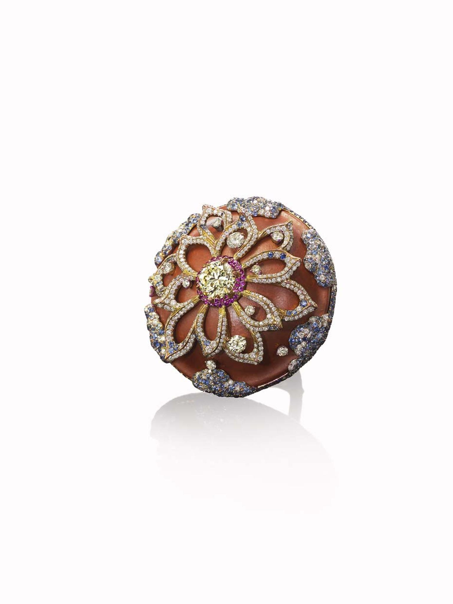 Wallace Chan Graceland ring featuring diamonds, pink sapphires and porcelain.