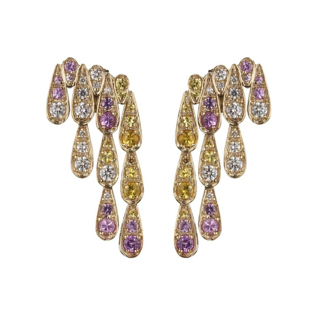 Sabine G for Latest Revival one-of-a-kind Harlequin yellow gold earrings featuring pink and yellow sapphires and diamonds.