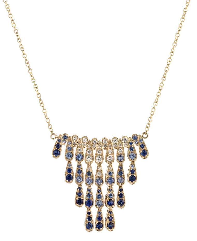 Sabine G for Latest Revival one-of-a-kind Harlequin yellow gold necklace featuring dark and light blue sapphires and diamonds.