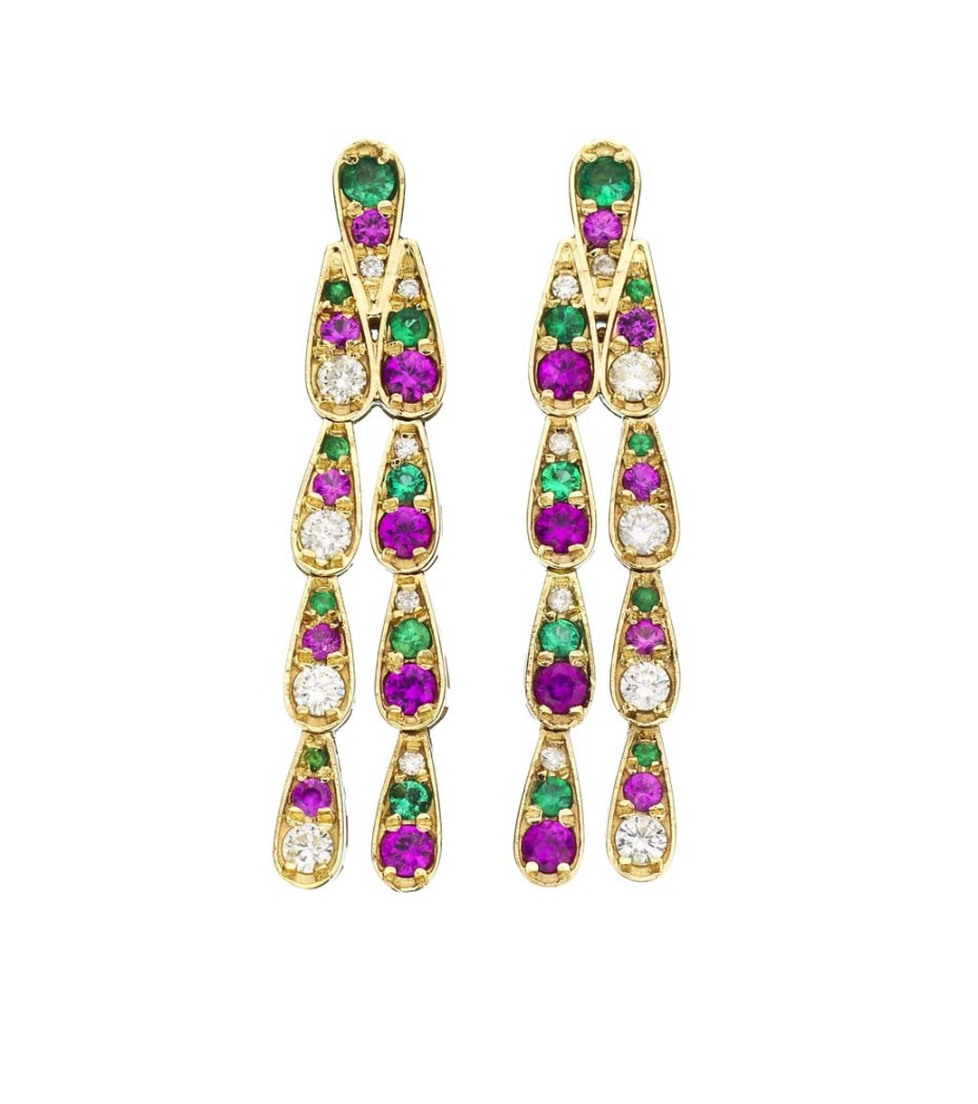Sabine G Harlequin collection white gold earrings with white diamonds, emeralds and pink sapphires.