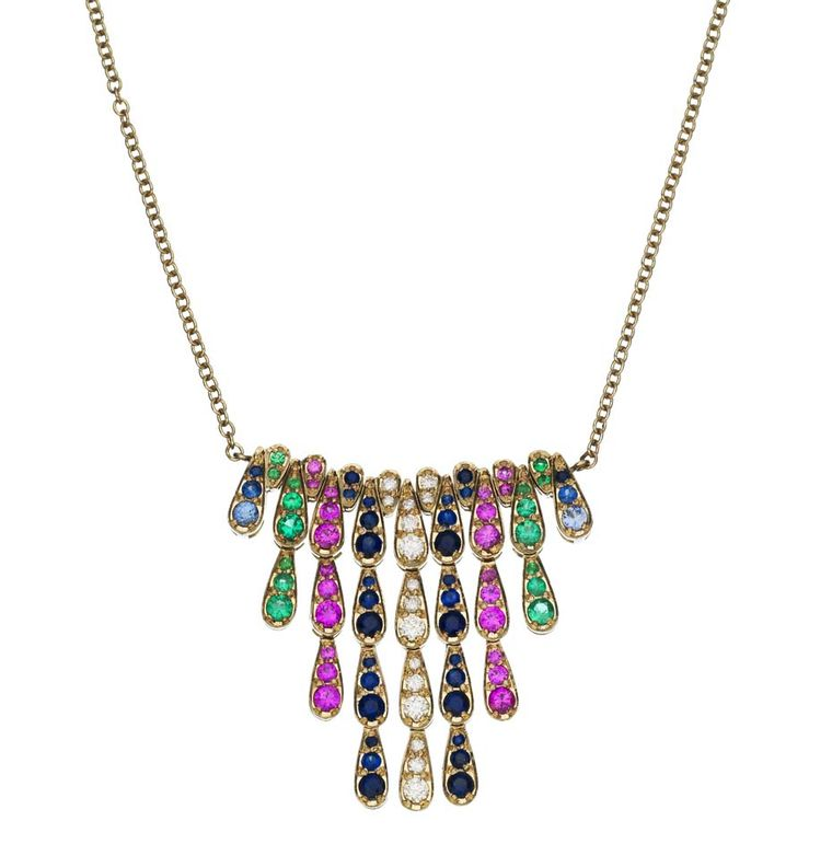 Sabine G Harlequin collection white gold pendant with white diamonds, sapphires, emeralds and pink sapphires.