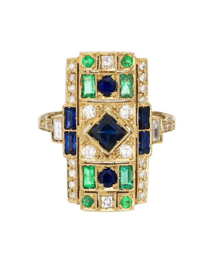 Sabine G Harlequin collection white gold ring with white diamonds, emeralds and sapphires.