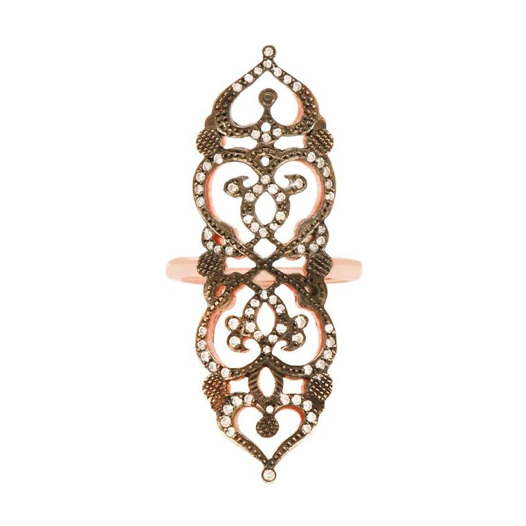 Sabine G Relic collection rose gold Medieval diamond ring.