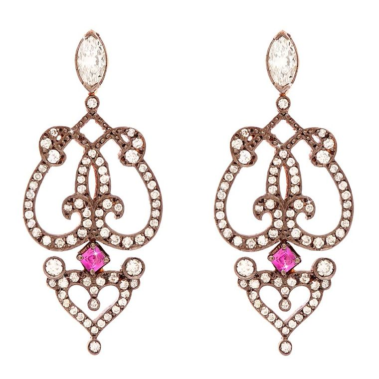Sabine G Relic collection rose gold Marquise earrings set with pavé diamonds, rubies and marquise and heart-shaped diamonds.