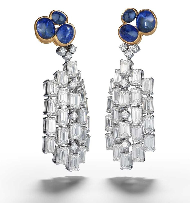 Alexandre Reza Atoll earrings featuring 8.56ct cabochon unheated Burmese sapphires, 22.00ct emerald-cut diamonds and brilliant-cut diamonds.