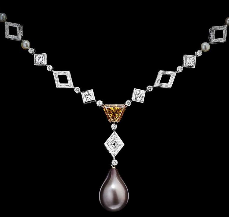 Alexandre Reza L'Irremplacable necklace featuring an extraordinary natural grey drop-shaped pearl weighing 25.10ct, a 3.76ct Fancy deep orange-yellow diamond, princess, baguette and brilliant-cut diamonds, and 10 white natural pearls.