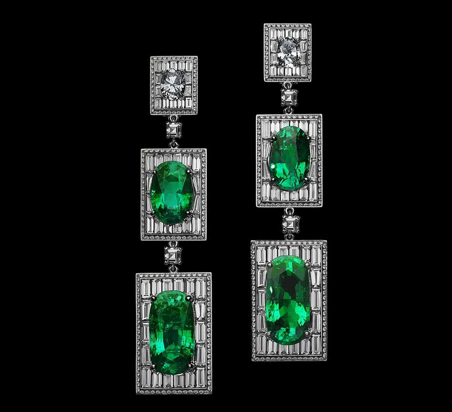 Alexandre Reza Old Mine emerald earrings with four oval-shaped Colombian emeralds weighing 51.84ct mounted with baguette-cut diamonds.