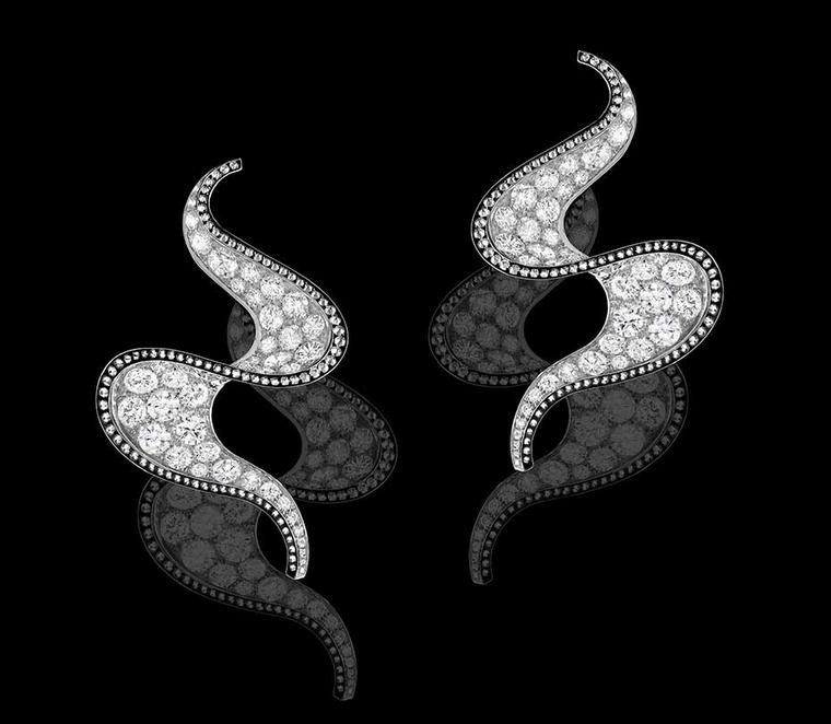 Alexandre Reza Spiral earrings in white and black rhodium gold set with 10.86ct brilliant-cut diamonds.