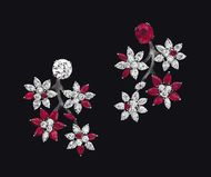 Alexandre Reza asymmetric tremblant style tree-blossom earrings with D flawless diamonds and untreated Burmese rubies set on blackened white gold.