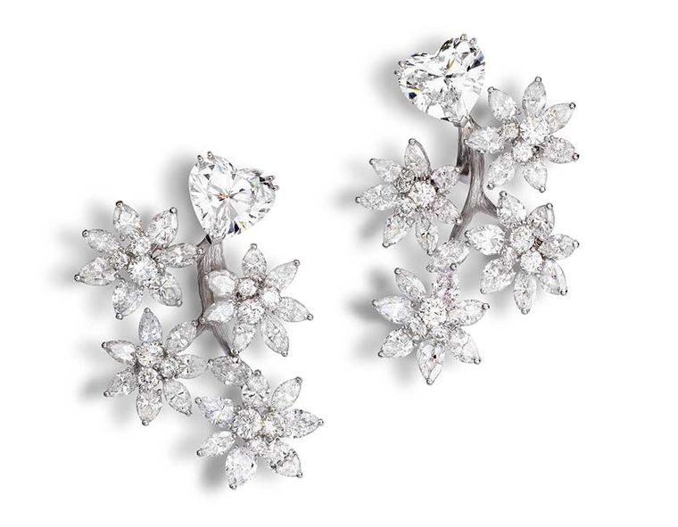 Alexandre Reza tremblant style tree-blossom earrings with two heart-shaped diamonds weighing 3.77ct and 4.01ct, pear-shaped diamonds, marquise-cut diamonds and brilliant-cut diamonds.