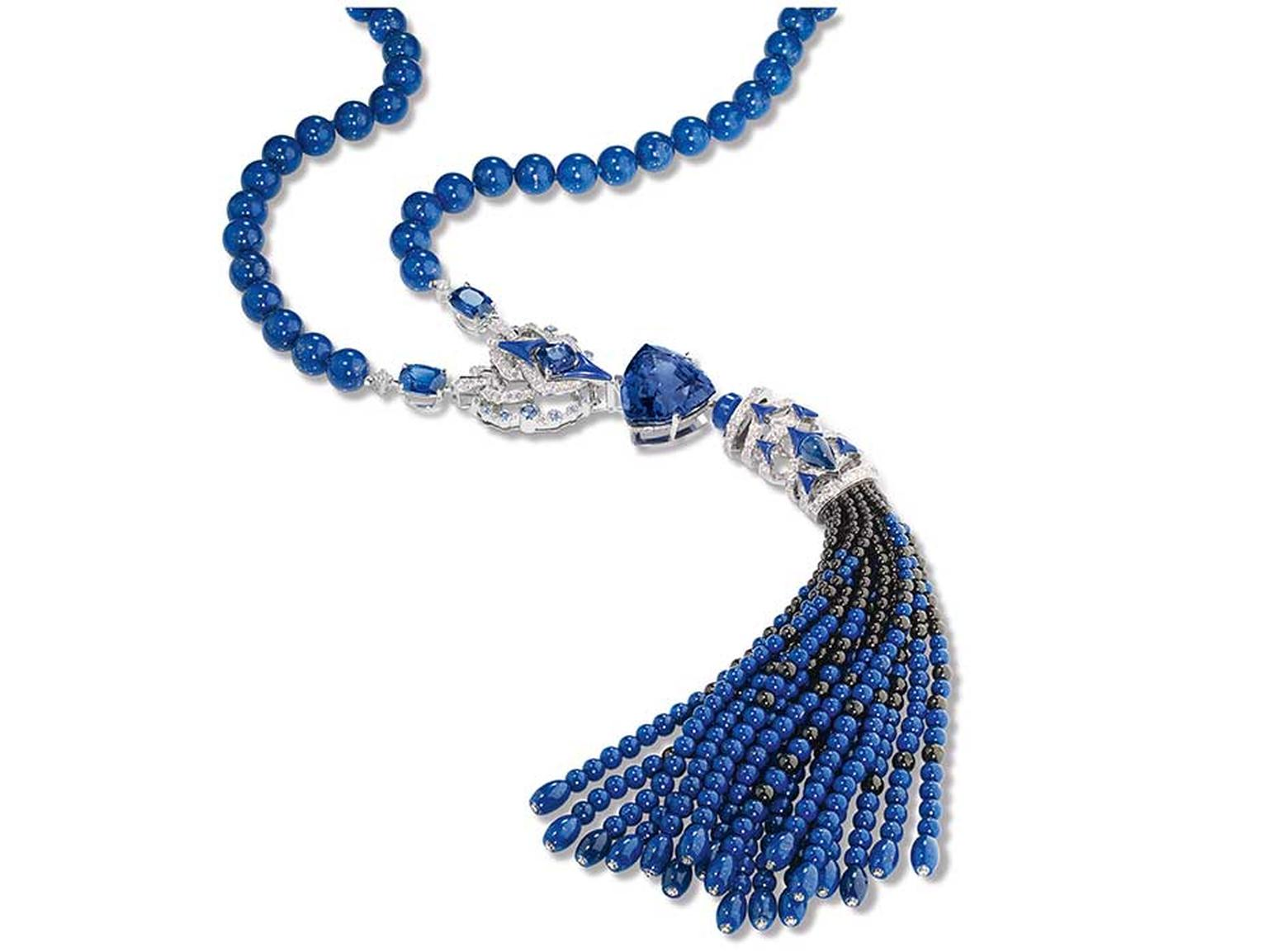 Chaumet Lumieres d'Eau high jewellery necklace in white gold with a 45.64ct troidia-cut tanzanite, three cushion-cut sapphires, sapphires, sapphire beads, lapis lazuli beads and black spinel beads.