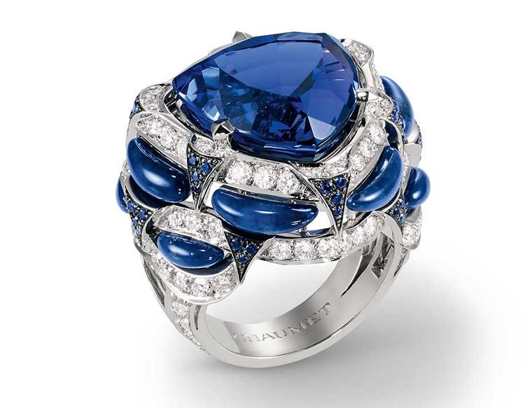 Chaumet Lumieres d'Eau high jewellery ring in white gold, set with a 16.50ct troidia-cut tanzanite, round sapphires, lapis lazuli and brilliant-cut diamonds.