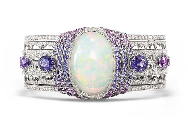 Chaumet bracelet in white gold set with a 39.05ct cabochon-cut white opal from Ethiopia, brilliant-cut diamonds, oval-cut violet sapphires from Ceylon and Madagascar and round violet sapphires, from the Lumieres d'Eau high jewellery collection.