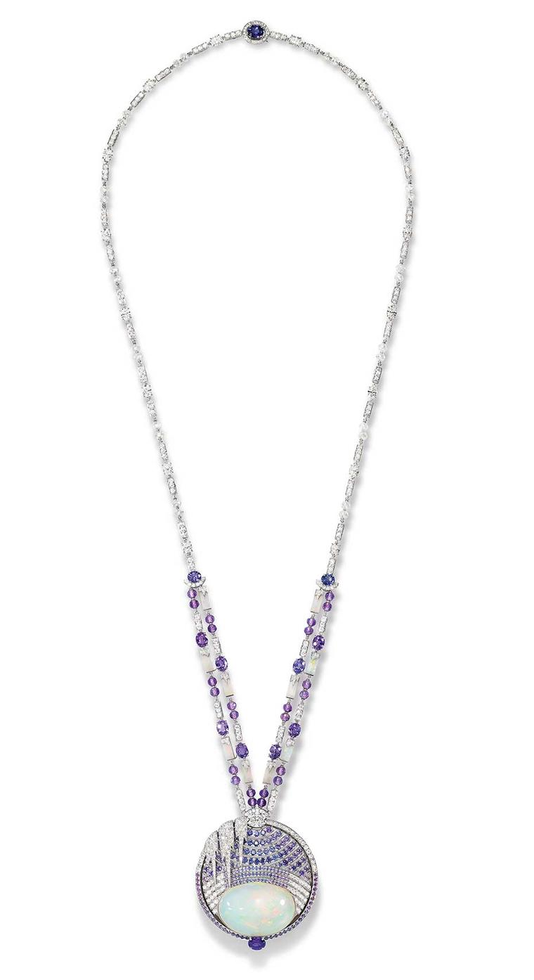 Chaumet Lumieres d'Eau high jewellery necklace in white gold, created for the Biennale des Antiquaires in Paris, set with a 59.58 ct cabochon-cut white opal and opal motifs from Ethiopia, round and oval-cut violet sapphires from Ceylon and Madagascar, ova