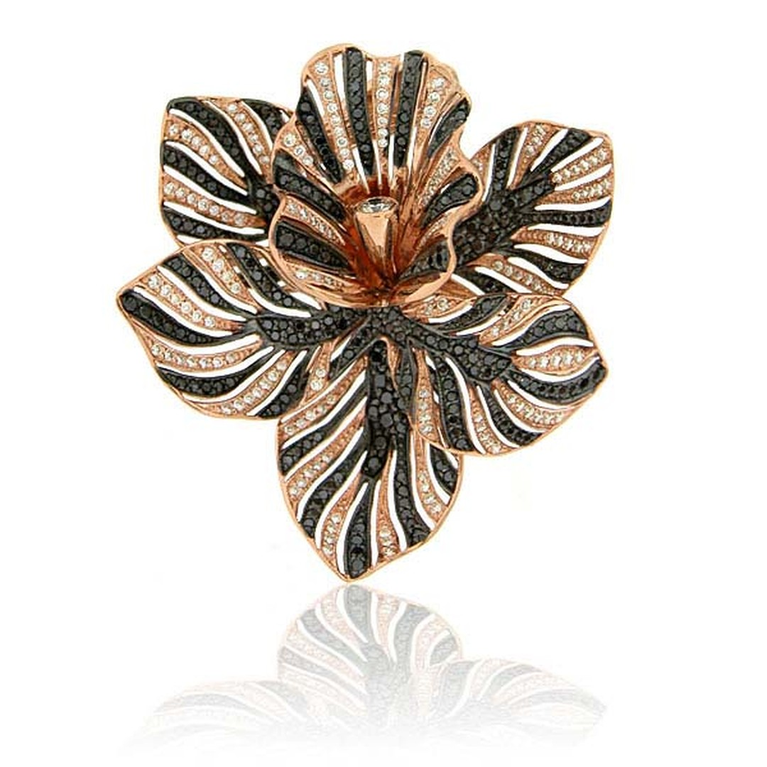 Zorab Atelier de Creation Bloom Tiger Striped Flower ring featuring spinel and black, white and yellow diamonds.