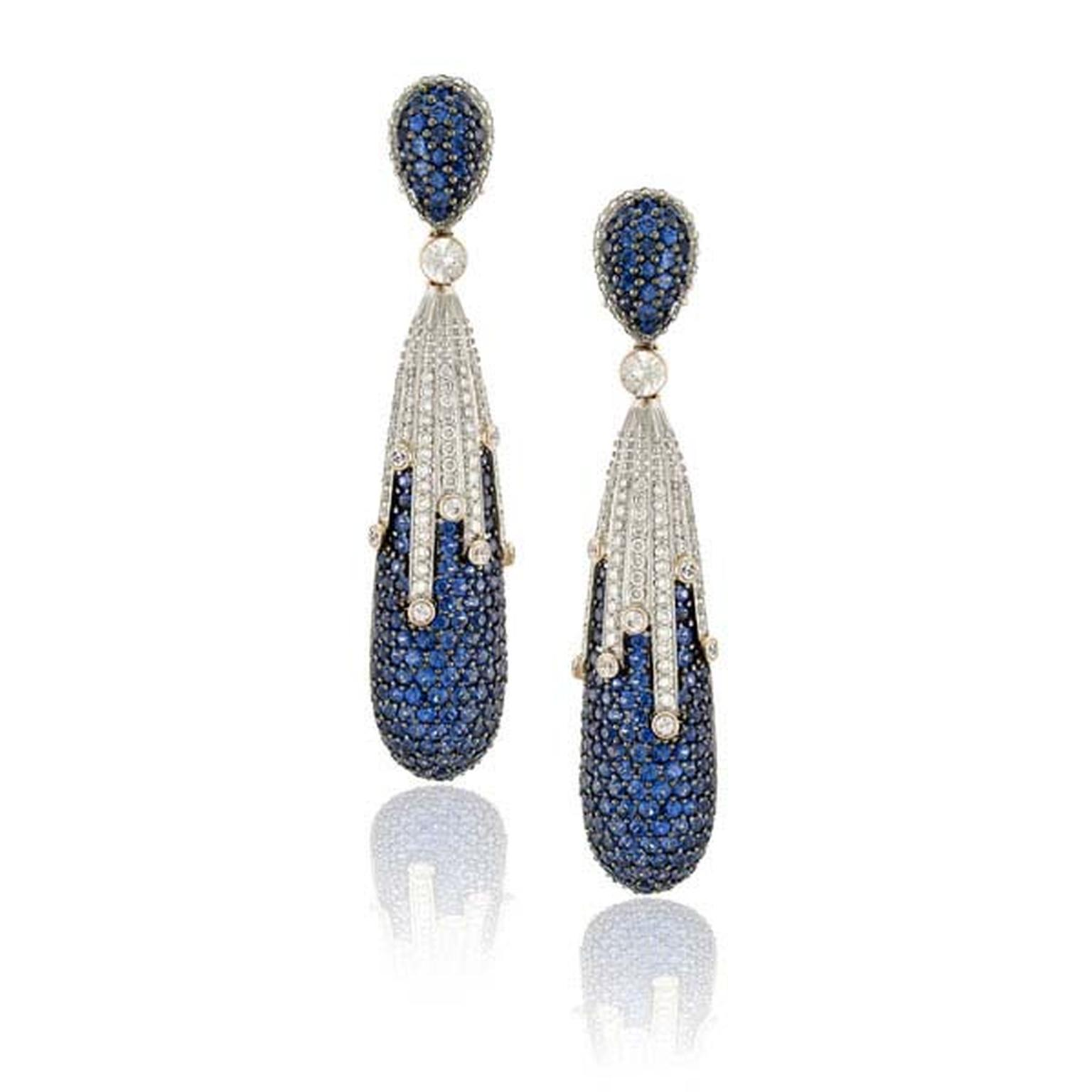 Zorab de Atelier Blue Cascade Drop earrings in gold and palladium with blue sapphires and white diamonds.