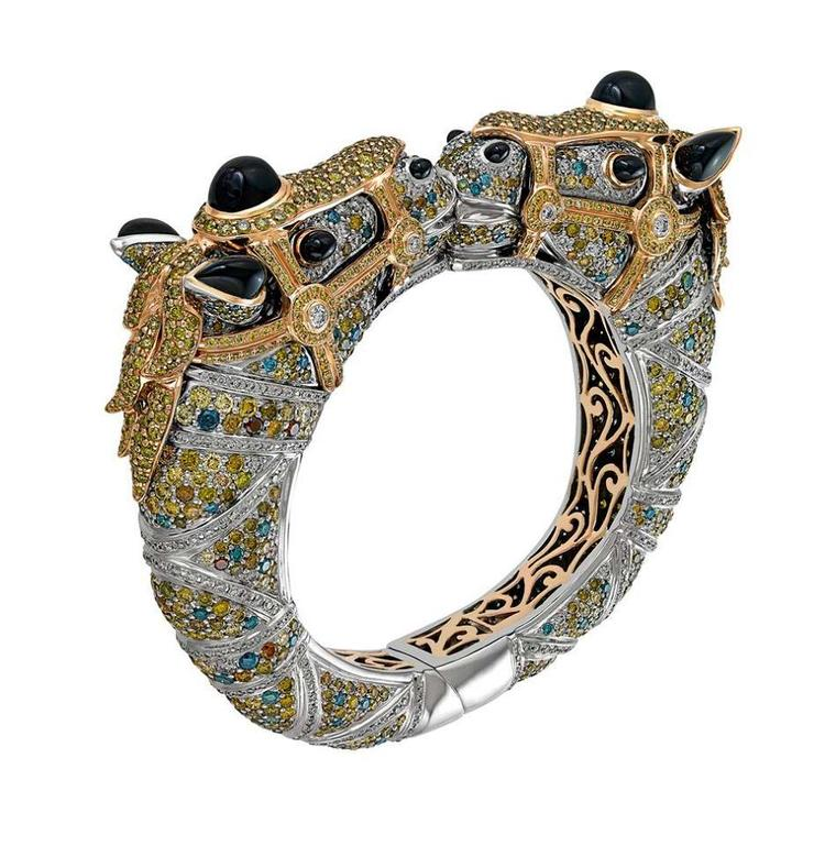 Zorab Atelier de Creation Carousel Kissing Horses bracelet with black, white, green, yellow and fancy coloured diamonds, palladium, gold and spinel.
