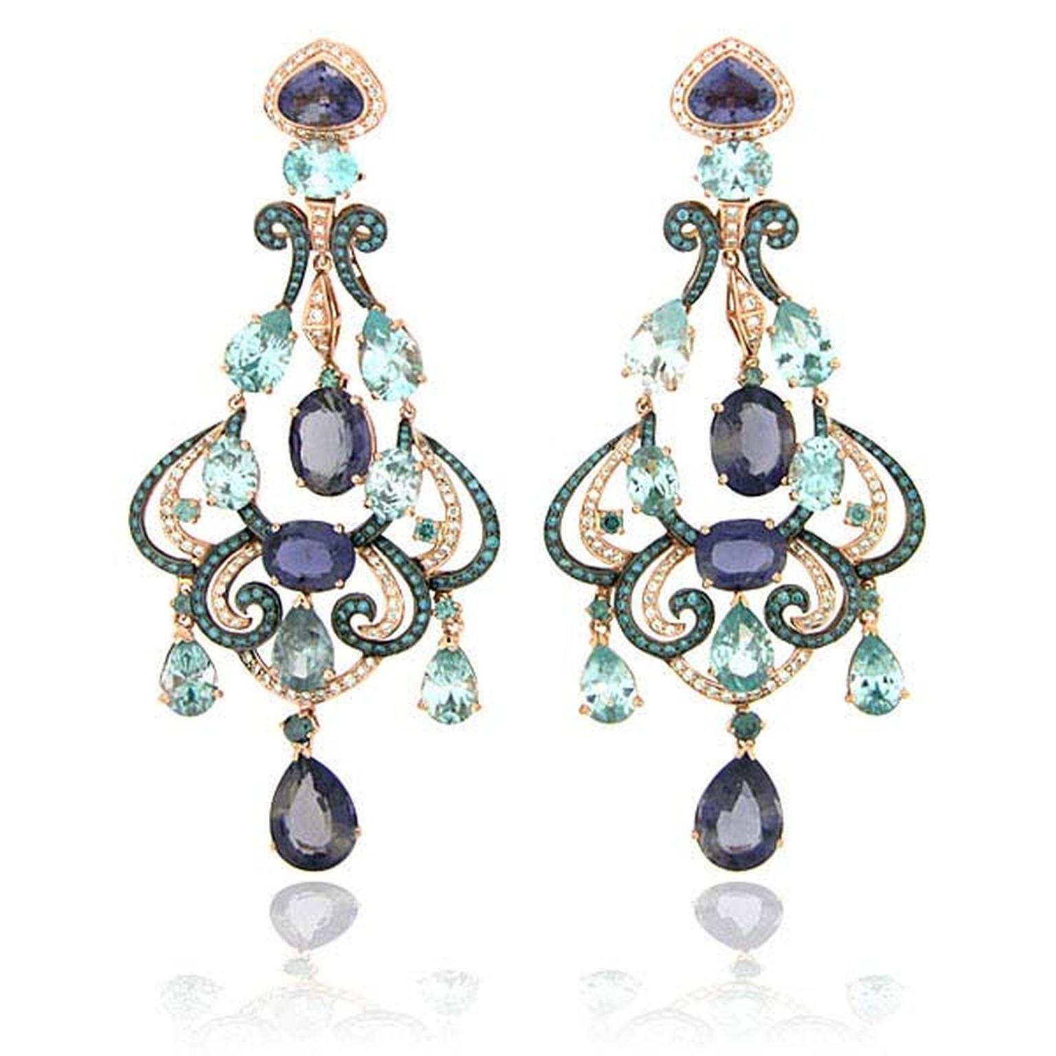 Zorab Atelier de Creation Delicate Brilliance Jeweled chandelier earrings featuring amethyst quartz, blue and white diamonds, blue topaz and blue zircon.