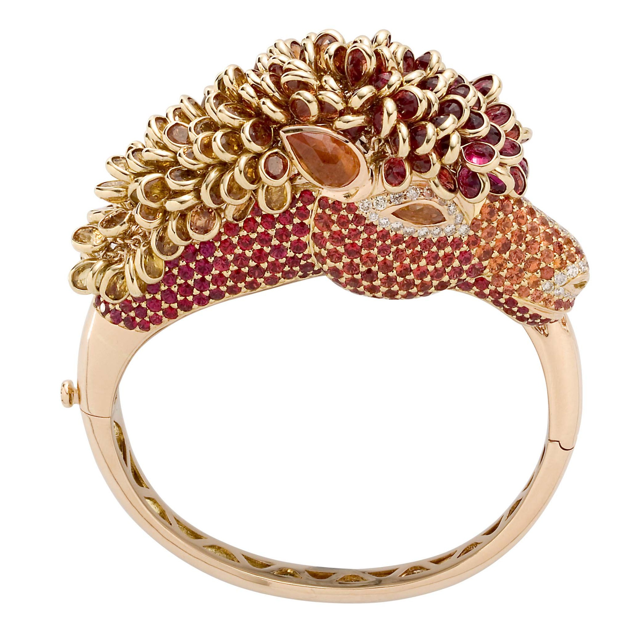 Zorab Atelier de Creation Fire Bred Horse bracelet composed of multi-coloured diamonds, orange, red and yellow sapphires, spessartite garnets and white diamonds.