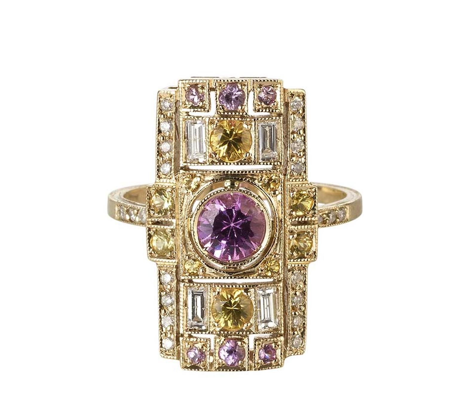 Sabine G for Latest Revival one-of-a-kind Harlequin yellow gold ring featuring pink and yellow sapphires and diamonds.