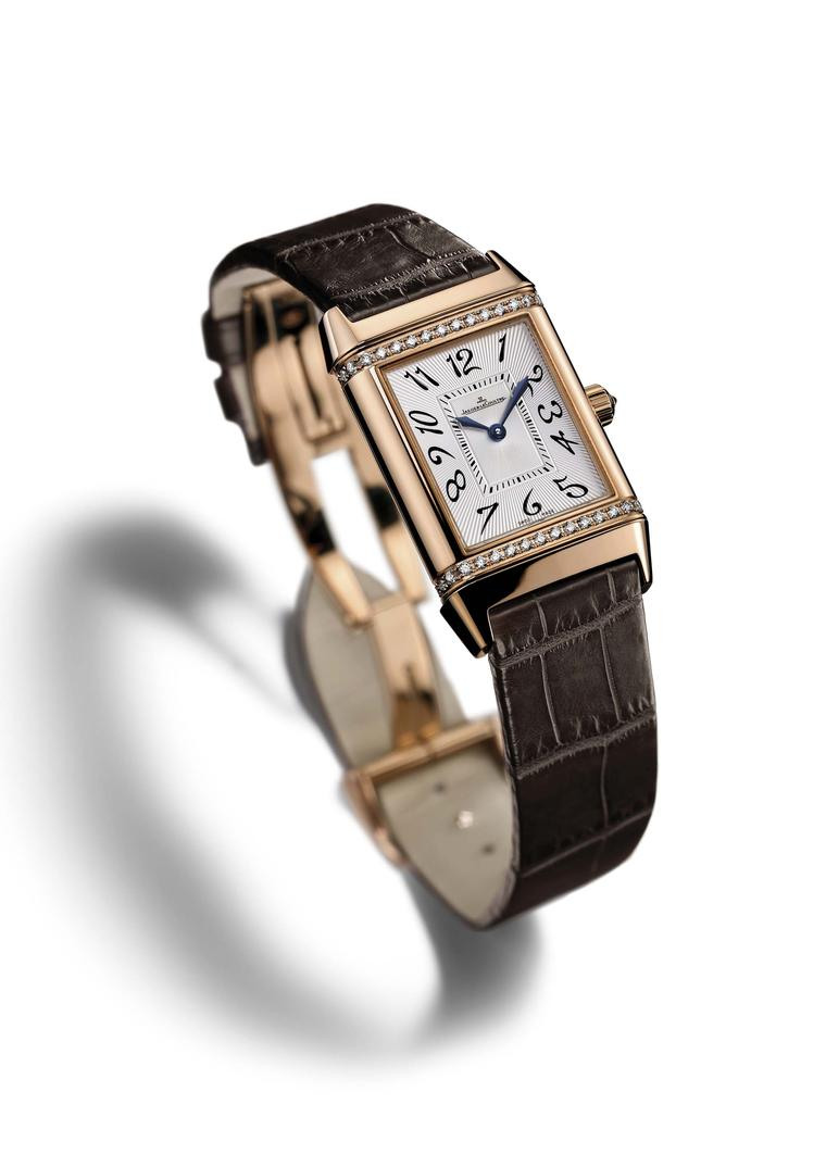 "The Jaeger-LeCoultre Reverso Duetto Classique appeals to Clare Milford Haven because of its versatile night and day aspect. ""One side of the watch is very much a day watch and I can flip it over and wear the black face in the evening.""  The two faces are"