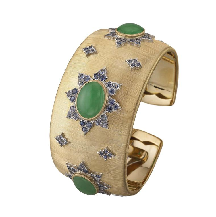 "Buccellati cuff bracelet in gold, ""regato"" engraved and set with 19.44ct green jade and blue sapphires."