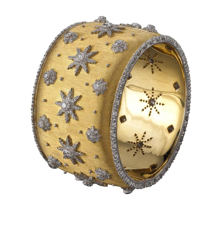 "Buccellati cuff bracelet in gold, decorated using the ""regato"" engraving technique and set with round brilliant diamonds."