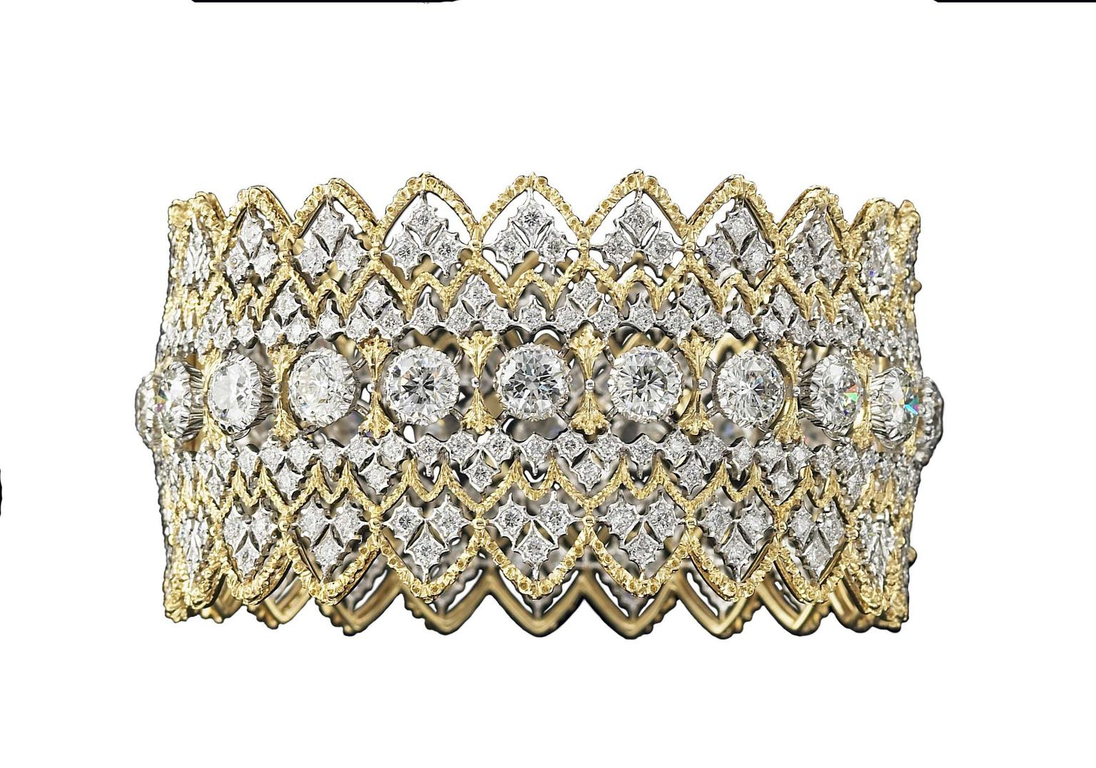 Buccellati gold lace-effect cuff bracelet with diamonds.