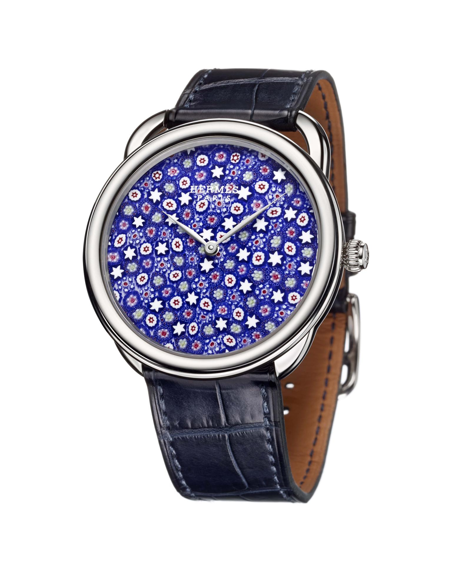 Hermès Arceau Millefiori watch in blue.