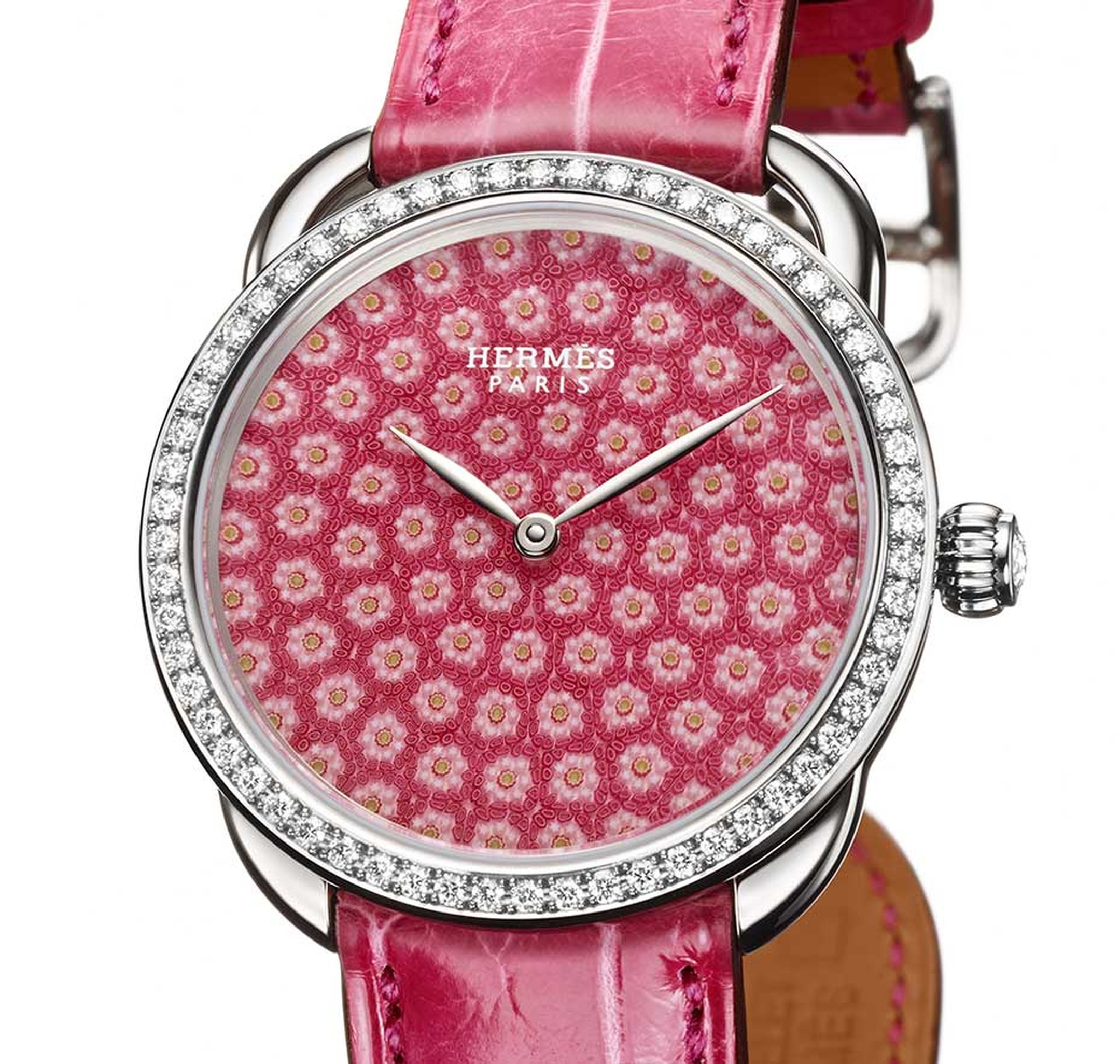 Hermès Arceau Millefiori watch in raspberry pink.