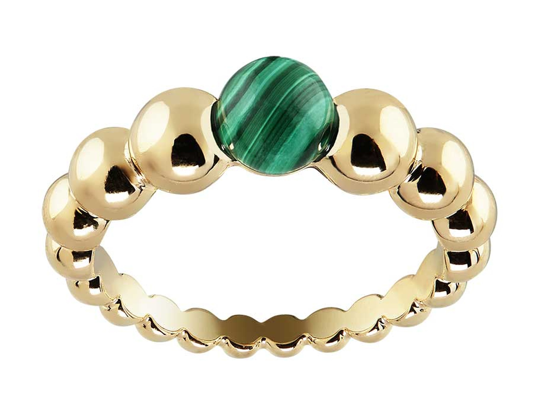 Van Cleef & Arpels Perlée Couleur ring in yellow gold with a cabochon malachite.