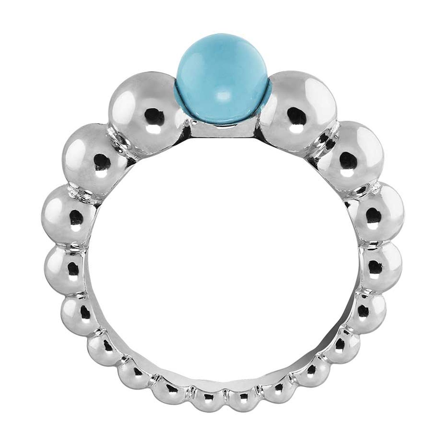 Van Cleef & Arpels Perlée Couleur ring in white gold with turquoise.
