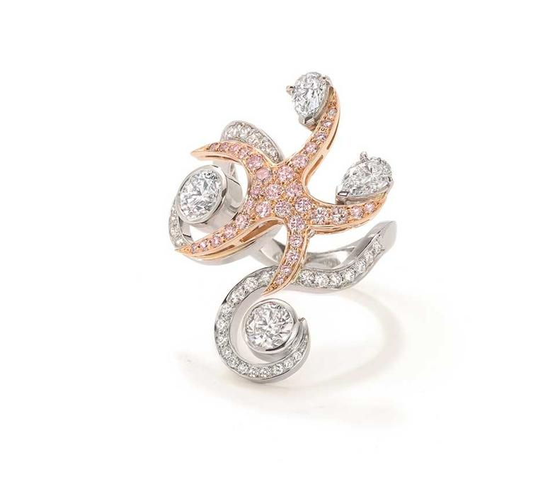 Boodles Sea Star ring with white and pink diamonds, from the new Ocean of Dreams collection.
