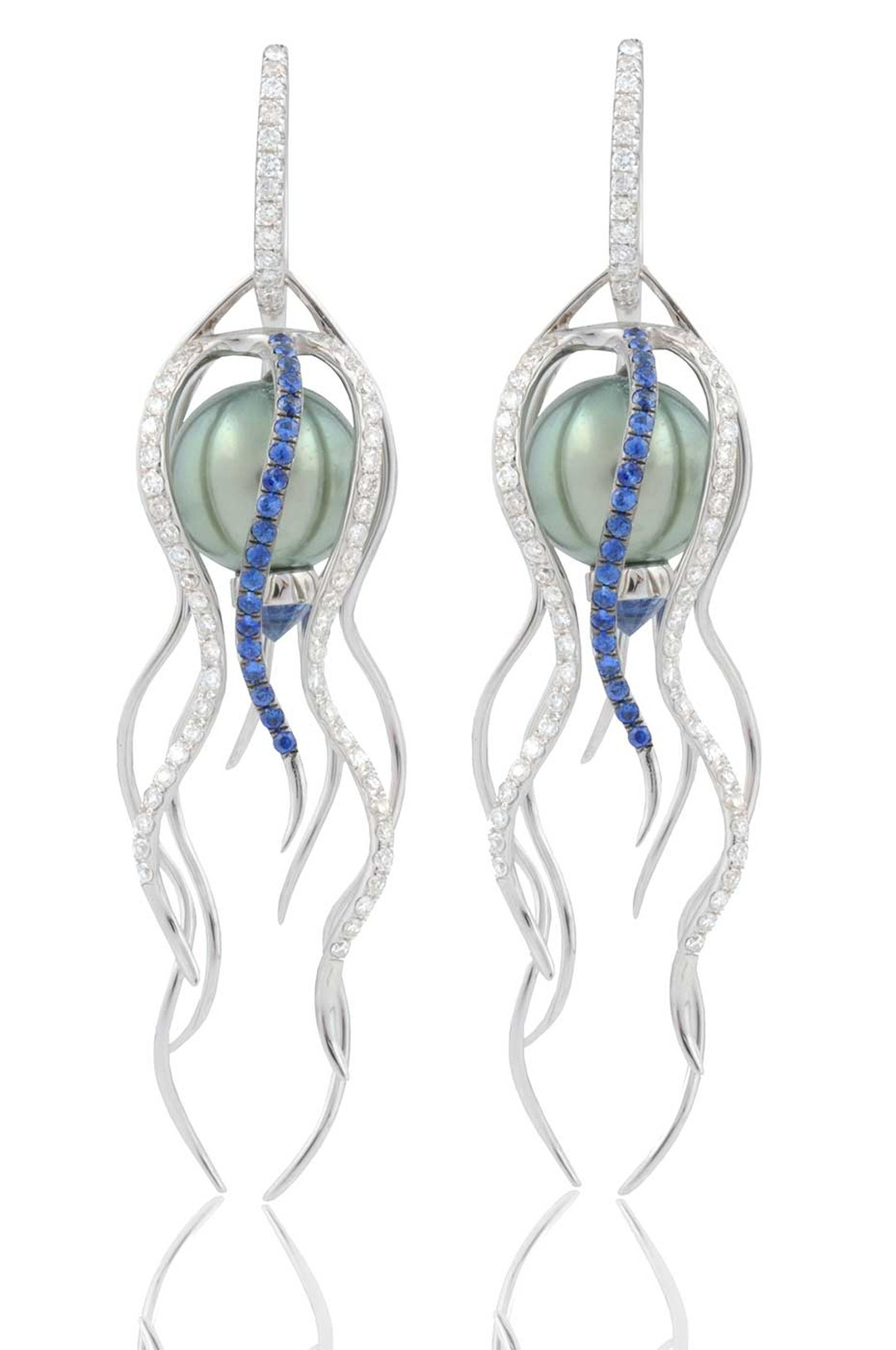 Leyla Abdollahi Doris earrings with Tahitian pearls, diamonds and sapphires.