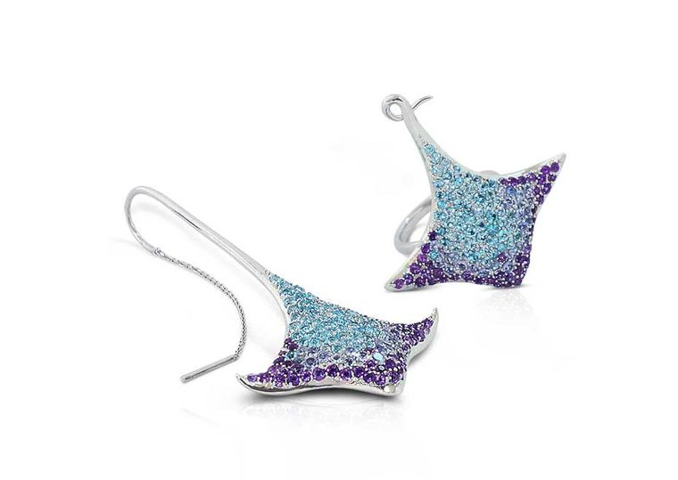 Phioro Aquaray earrings with topaz, tanzanite and amethyst.