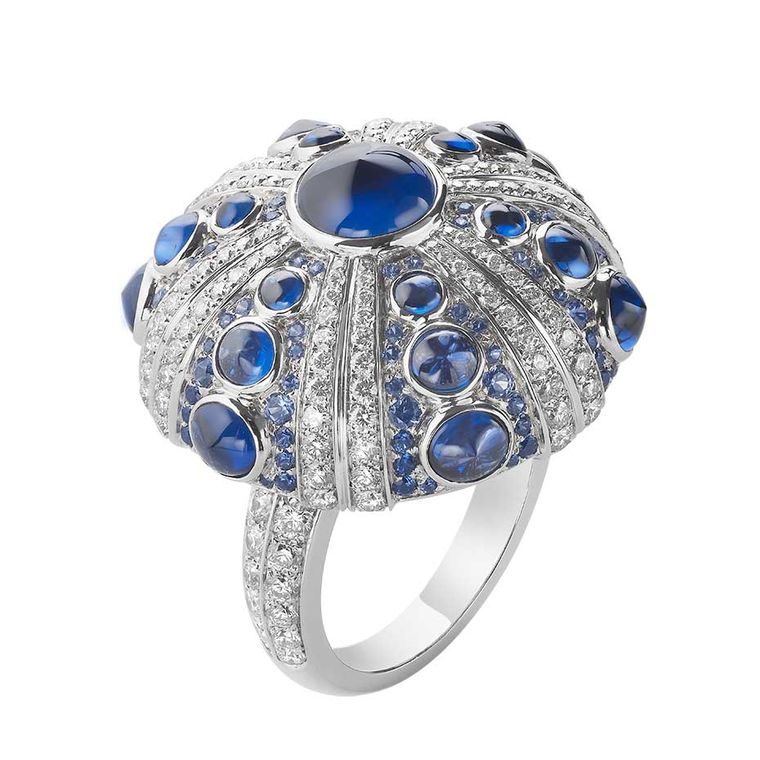 Boucheron Oursin ring with diamonds and cabochon sapphires.
