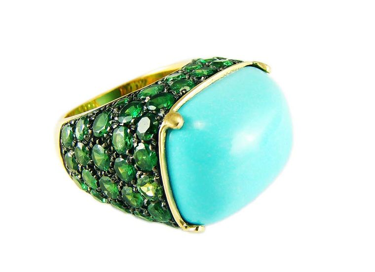 Corrado Giuspino's turquoise cabochon and tsavorite ring, with matching earrings, was created specially for summer 2014.