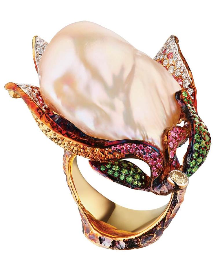 Jewellery Theatre's Magnolia ring, set with a one-of-a-kind baroque pearl, diamonds and coloured gemstones.