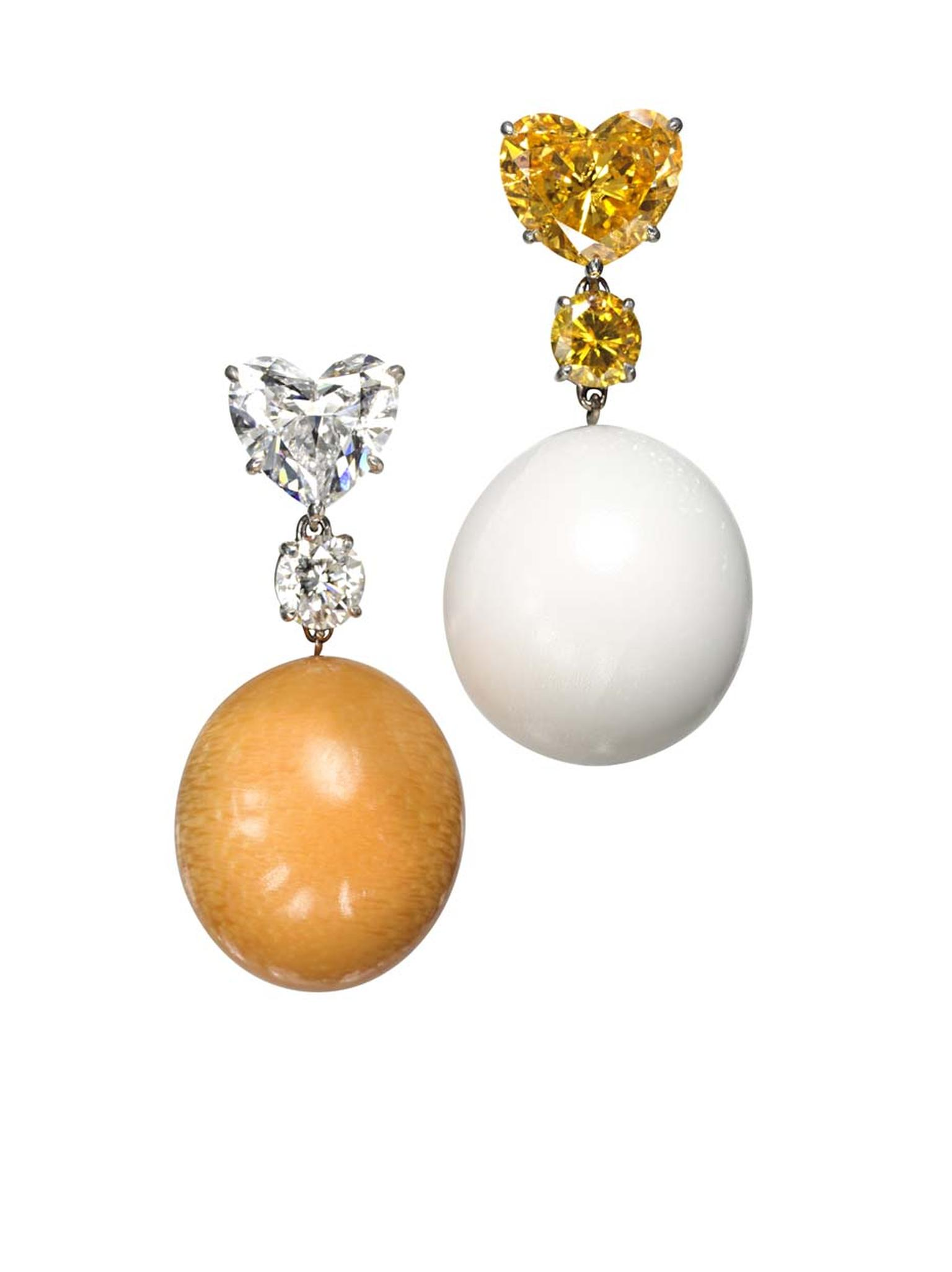 Bogh-Art Moi-Toi pearl earrings featuring one melo and one clam pearl paired with diamonds in contrasting colours for a purposely mismatched look.