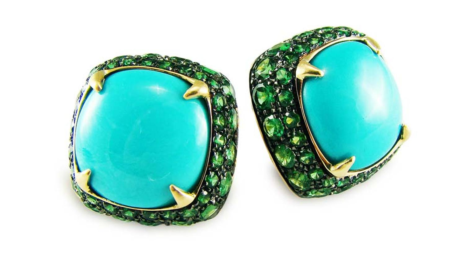 Inspired by the azure sea, Corrado Giuspino's earrings feature tsavorites surrounding a central turquoise stone.