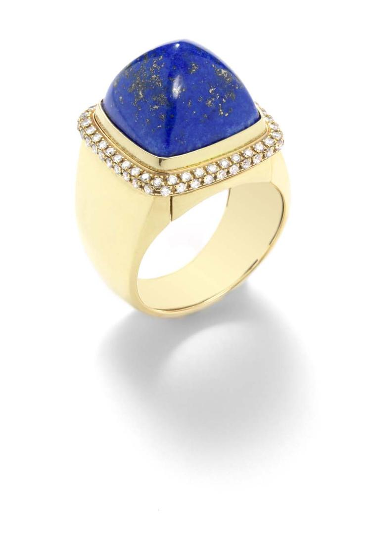 FRED Pain de Sucre ring in gold and diamonds, with an interchangeable cabochon lapis lazuli.