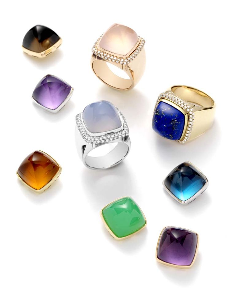 FRED Pain de Sucre rings with the choice of a cabochon tanzanite, aquamarine, tourmaline, green beryl or rubellite, which you can supplement with eight additional cabochon gemstones, including rose quartz, chalcedony, amethyst and lapis lazuli.