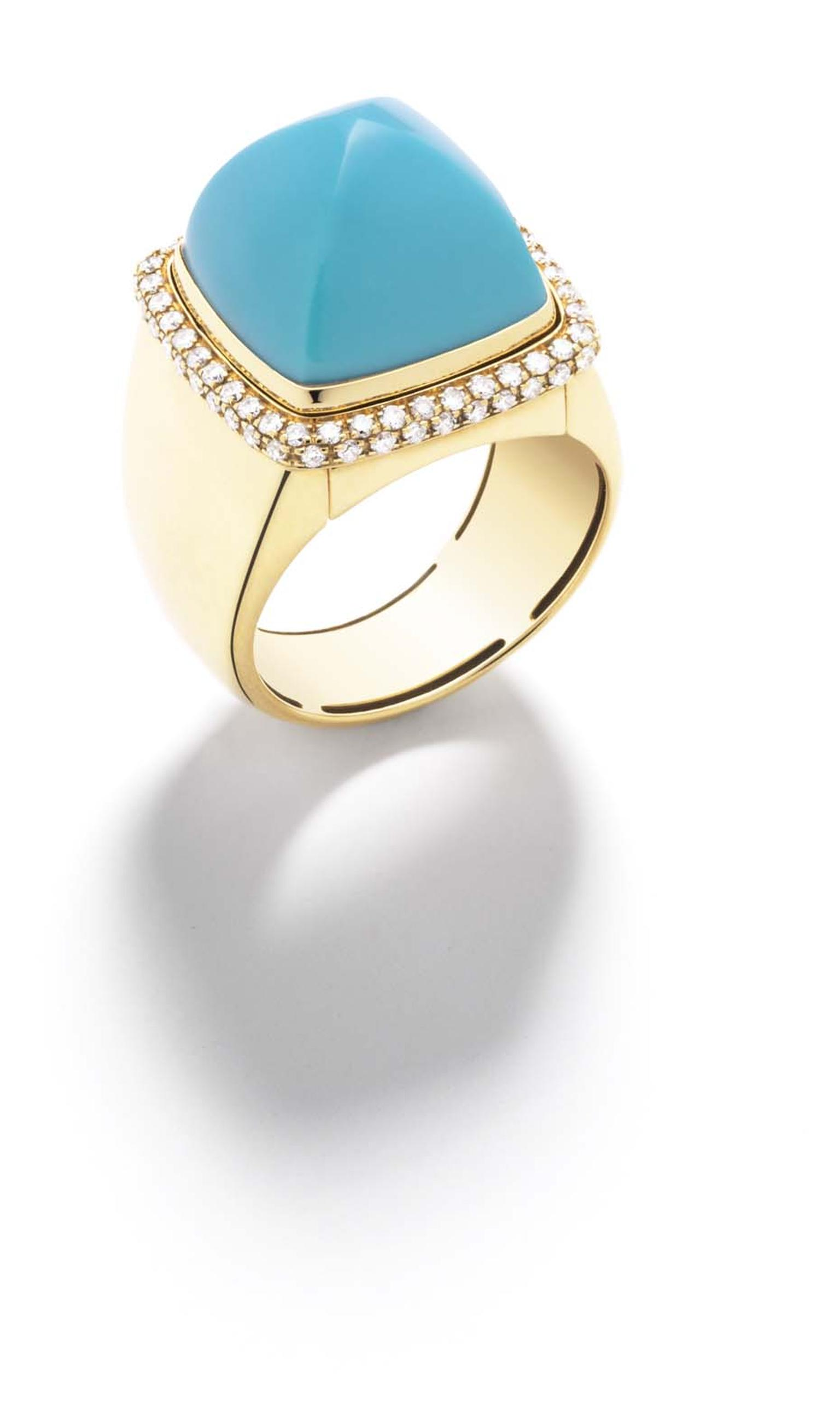 FRED Pain de Sucre ring in gold with diamonds, with an interchangeable turquoise cabochon.